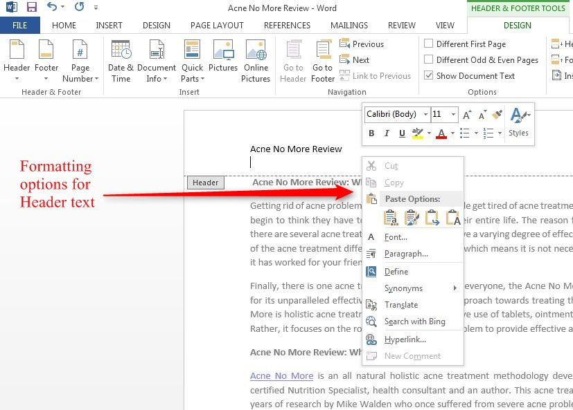 Insert Header, Footer, Page Number in Word 2013 | Tutorials