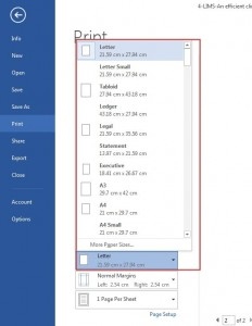 printing Word 2013-Paper size