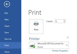 Printing Documents in Word 2013