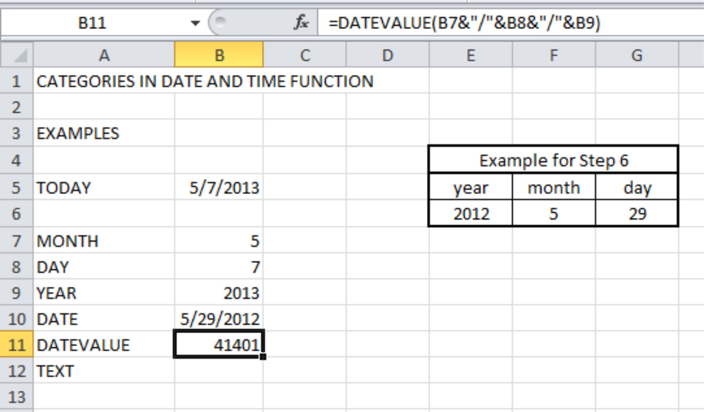 Date function excel