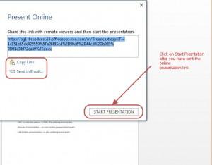 online presentation - present online dialog box