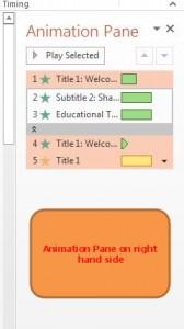 text animation - animation pane