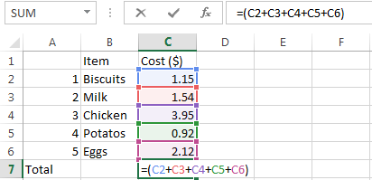 how to create formulas in excel 2013