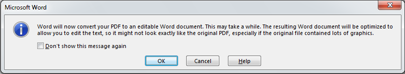 How to Convert Text from a PDF into an Editable Document in Word 2013 3
