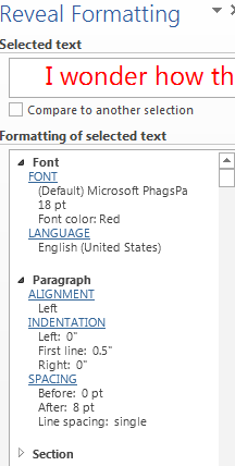 How to Reveal Formatting in Word 2013 2