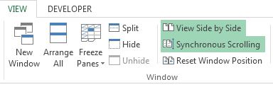 How to Compare Worksheets in Excel 2013 3