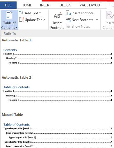 How to Create and Update Table of Contents in Word 2013 4