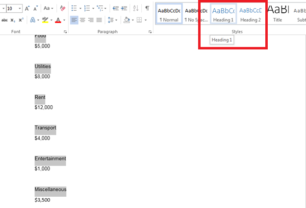 How to Create a Table of Contents in Word 2013 2