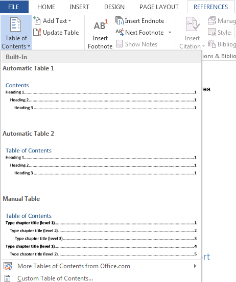 How to Create a Table of Contents in Word 2013 4