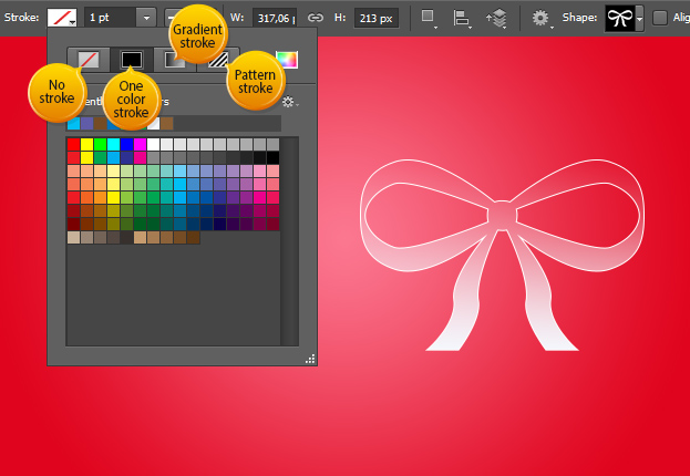 Vector Layer Shape Options in Photoshop CS6