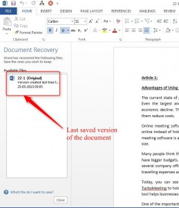 How to Recover files in Word 2013