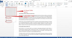 How to insert a Table in Word 2013