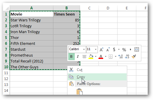 Using Transpose Tool in Excel 2013