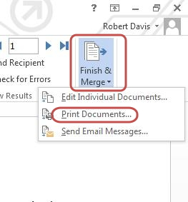 mail merge-finish and merge