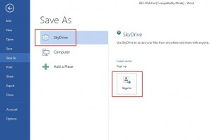 Saving Word 2013 Documents to SkyDrive