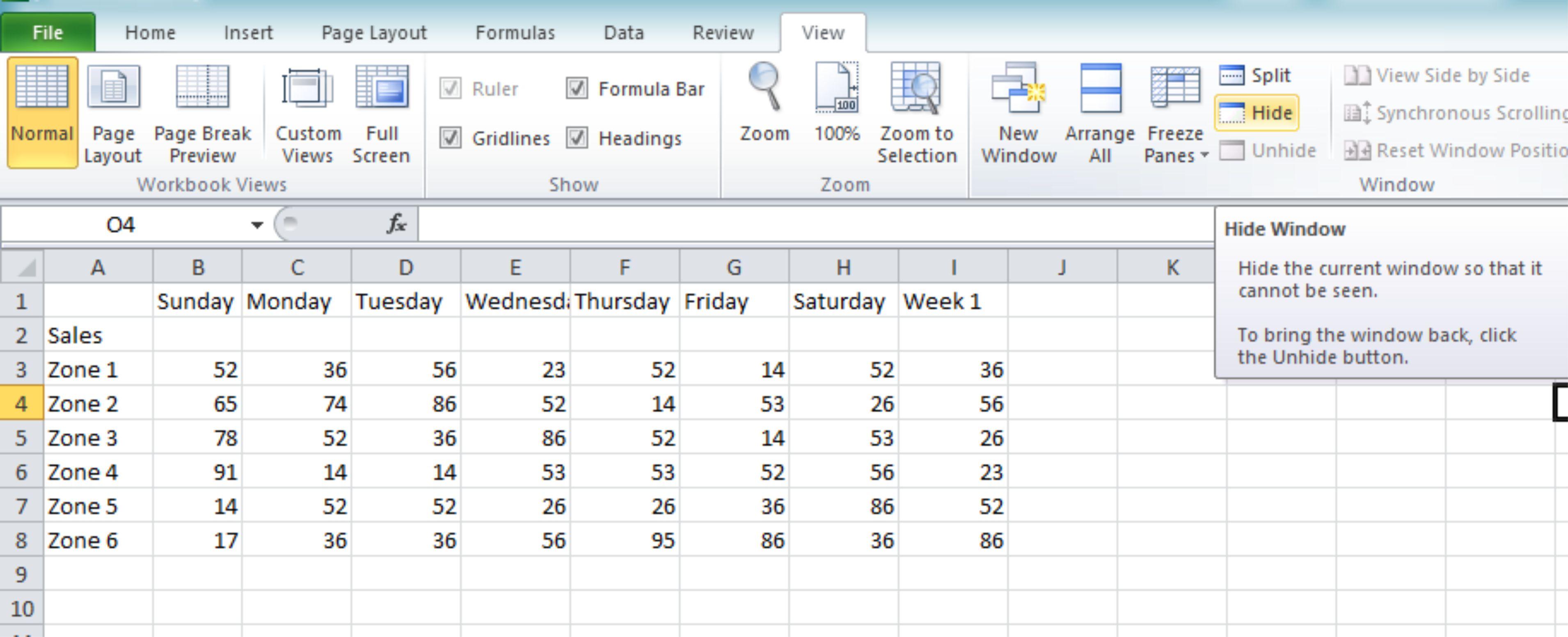 Window view in Excel 2010   Tutorials Tree Learn ...
