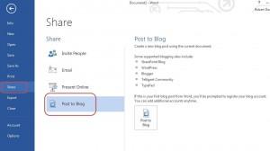 publish blog - main screen