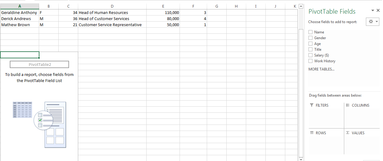 How to Create a PivotTable in Excel 2013 5