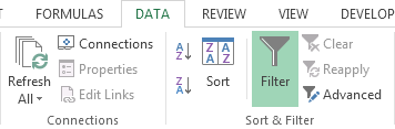 How to Filter Data in a Table in Excel 2013 3