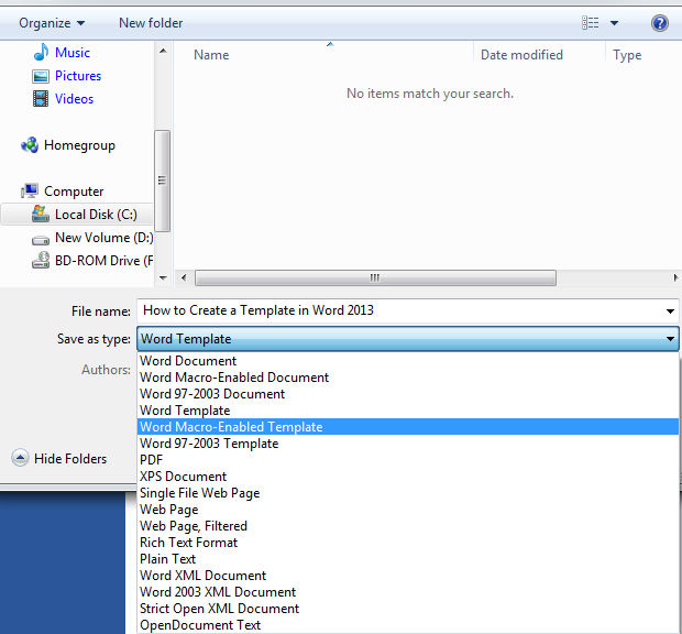 How to Create a Template in Word 2013 3