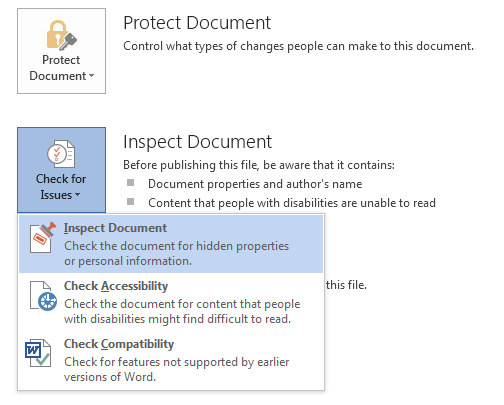 How to Use Document Inspector in Word 2013 3