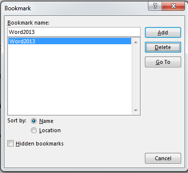 How to Add and Remove Bookmarks in Word 2013 5