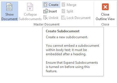 How to Create and Manage a Master Document and Subdocuments in Word 2013 6
