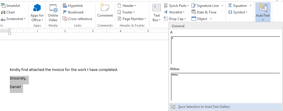 How to Create AutoText Entries in Word 2013 7